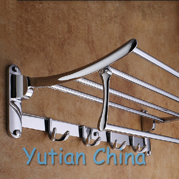 HOT SELLING, FREE SHIPPING, Bathroom towel holder, Foldable towel rack,50cm Stainless steel towel rack with hooks(China (Mainland))