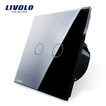 Trasporto libero, livolo standard ue, vl-c702-12, nero pannello di cristallo, 2 gangs 1 way, muro light touch screen interruttore(China (Mainland))