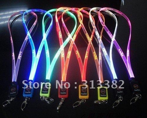 LED flash light braid,flashing lanyard,led neck strap ,   free shipping