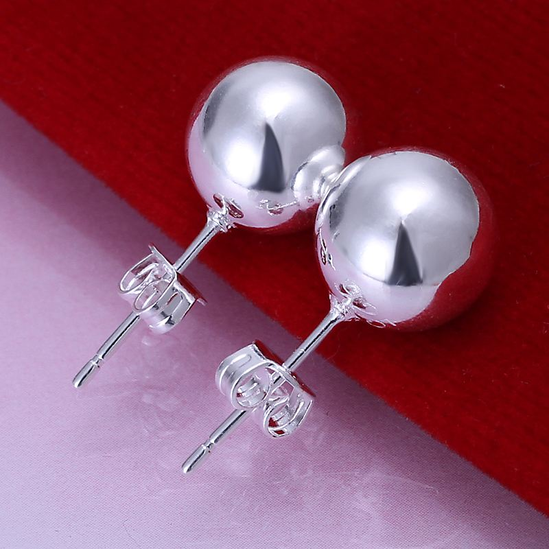 Free shipping 925 sterling silver jewelry earring fine 10mm smooth ball stud earring wholesale and retail SMTE074<br><br>Aliexpress