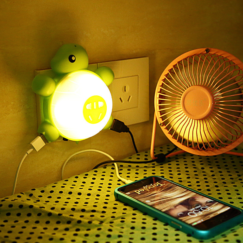 Creative Socket Turtle Nightlight powerful dual usb charging interface to charge 5 hole socket led nightlights(China (Mainland))