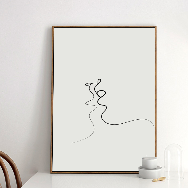 Kiss Picasso Simple Line Curve Black White Abstract Canvas Painting Art Print Poster Picture Wall Decoration Modern Home Decor