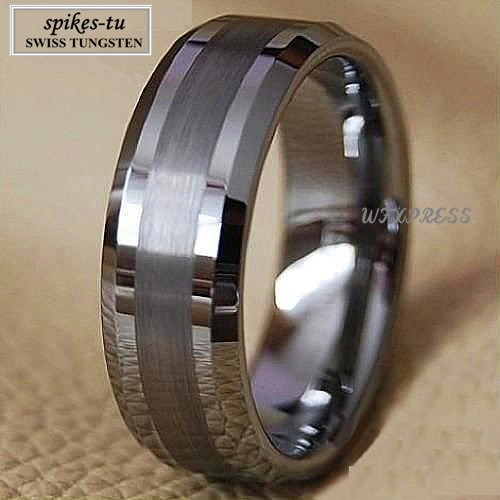 Titanium Color Two Tone Tungsten Carbide Wedding Band Men's Ring Bridal Jewelry Free Shipping(China (Mainland))