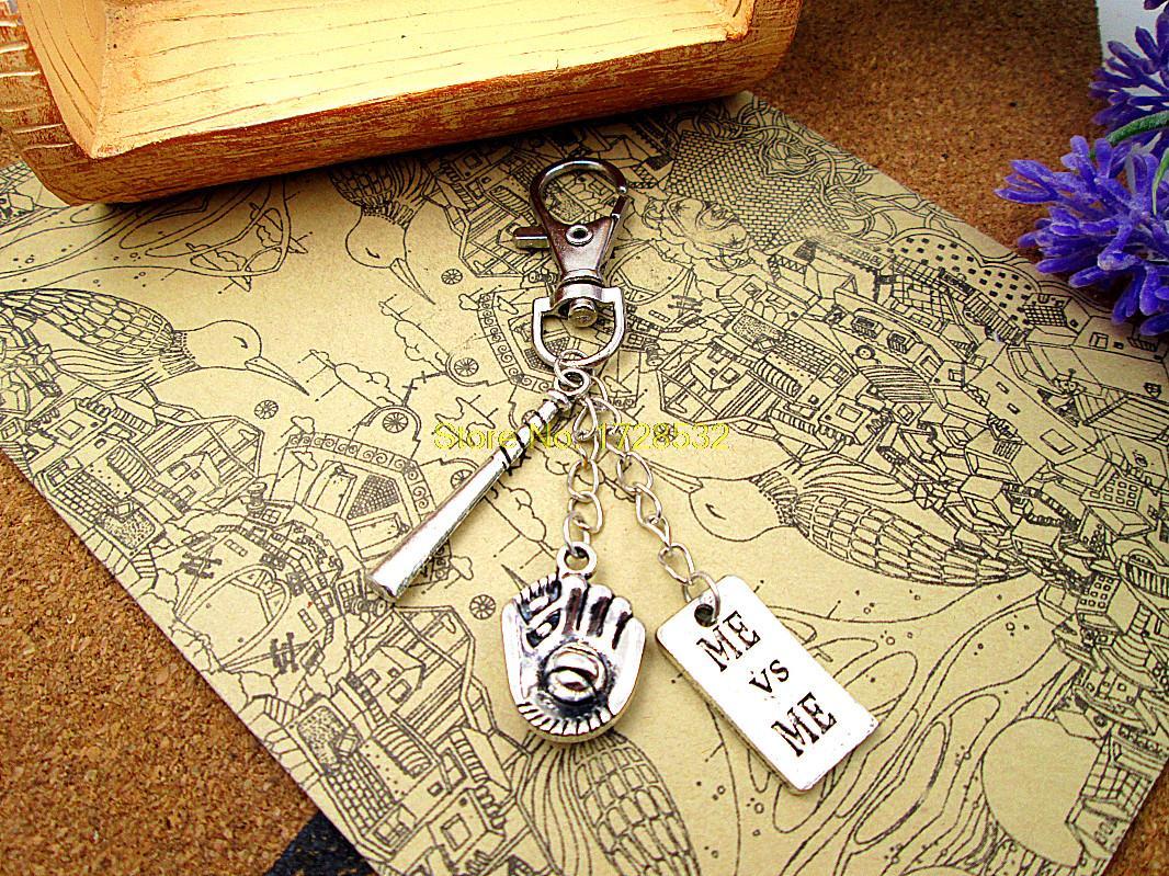12pcs/lot High quality Key chain baseball keychain silver plated 3D bat,Baseball glove,me vs me sports keychain(China (Mainland))