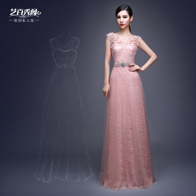 Double-shoulder V-neck slim lace Bride married long design evening dress Vestido de renda cheap uggs lebanon wedding 2015 - Sincere store from China