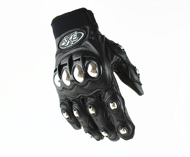 AXE Titanium Alloy Knuckle Motorcycle Gloves Genuine Leather Motorcross Gloves
