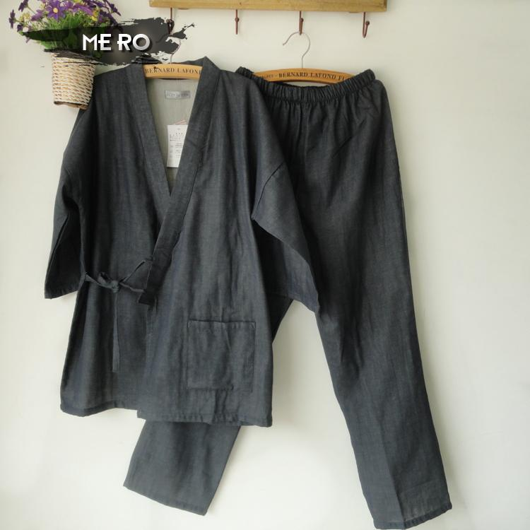 Summer New Mens short-sleeve cotton Double gauze home sexy pajamas sleepwear sets, solid gray and black male kimono suit(China (Mainland))