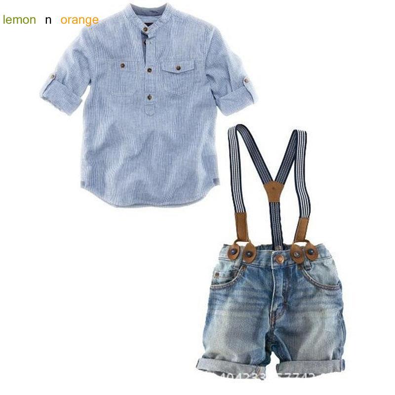 Carter 2016 New Kids Baby Boys Clothing Set Long Shirts + Jeans Pants 2pcs Sets Overalls Children's Clothes Boy Sets(China (Mainland))