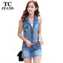 Buy TC 2016 Summer Fashion Denim Jeans Dress Woman Casual Sleeveless Bodycon Sexy White Blue Pockets Zipper Mini Club Dresses XL for $22.94 in AliExpress store