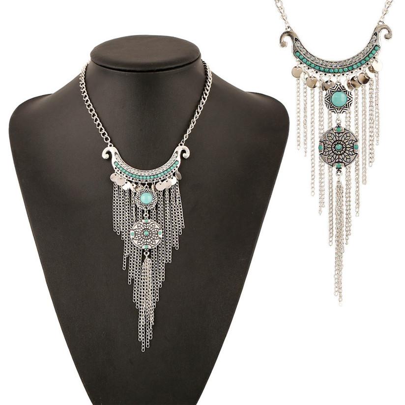 Hot Marketing Bohemian Gypsy Style Turquoise Tassel Long Chain Pendant Necklace Jun16(China (Mainland))