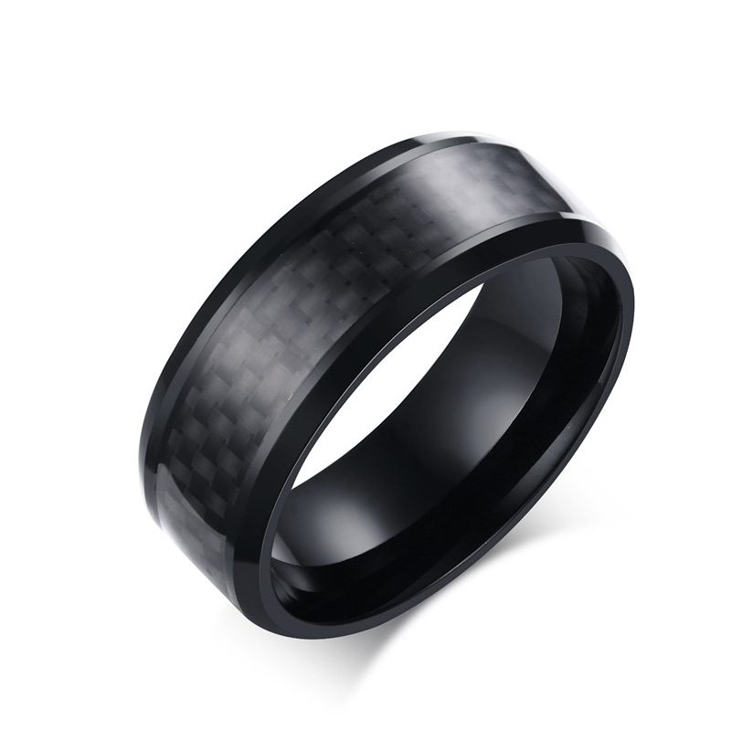 2016 Fashion Black Carbon Fiber Punk Ring For Men 8mm Stainless Steel Wedding Mens Rings Jewelry R-152(China (Mainland))