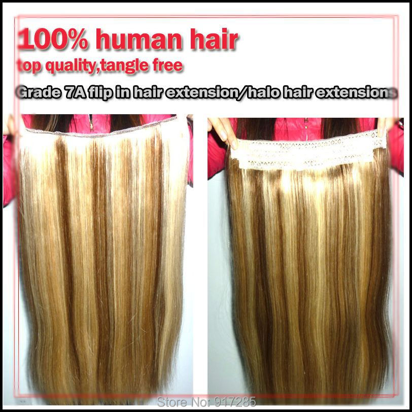 Mix Color Grade 7a Double Drawn Hair Human Hair Halo Hair Extensions