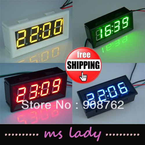 """Electric Digital Clock 12V/24V Car Motor Battery Operated 0.56"""" LED Watch Blue/RED/GREEN/YELLOW +DIY PANEL Case Box Freeshipping"""