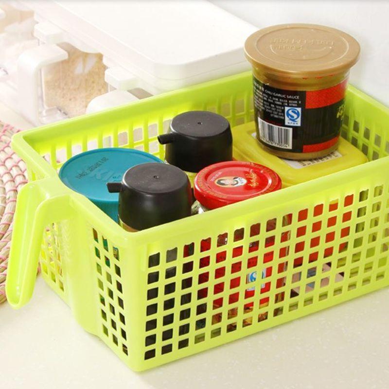 Kitchen Storage Basket Plastic Desktop Kitchen Storage Cabinet With Handle For Caned Food Seasoning Bottle Kitchen Accessories(China (Mainland))