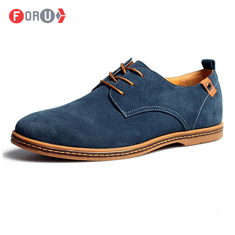 Men shoes 2015 New Suede Genuine Leather Fashion Men Casual shoes oxford shoes men Plus size 45,46,47,48 Dropshipping(China (Mainland))