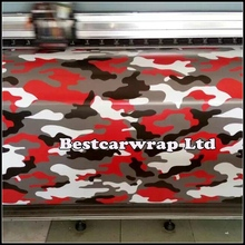 Small Red Tiger Arctic Camouflage Vinyl Wrap Sheet With Air Release Red / balck Camo Film For Car Wrap Styling 1.52x10m(China (Mainland))
