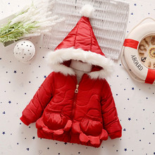 Fashion Baby Girls Winter Coat Thick Solid Warm Jacket Red Coat Flowers pocket Winter Jacket Children 90-110cm Kids Clothes(China (Mainland))