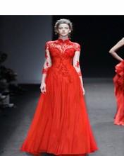 2017 New Design Red Evening Dress Vintage High Neck Lace Long Sleeve Muslim Vestido De Festa Elegant A-Line Evening Dresses(China (Mainland))