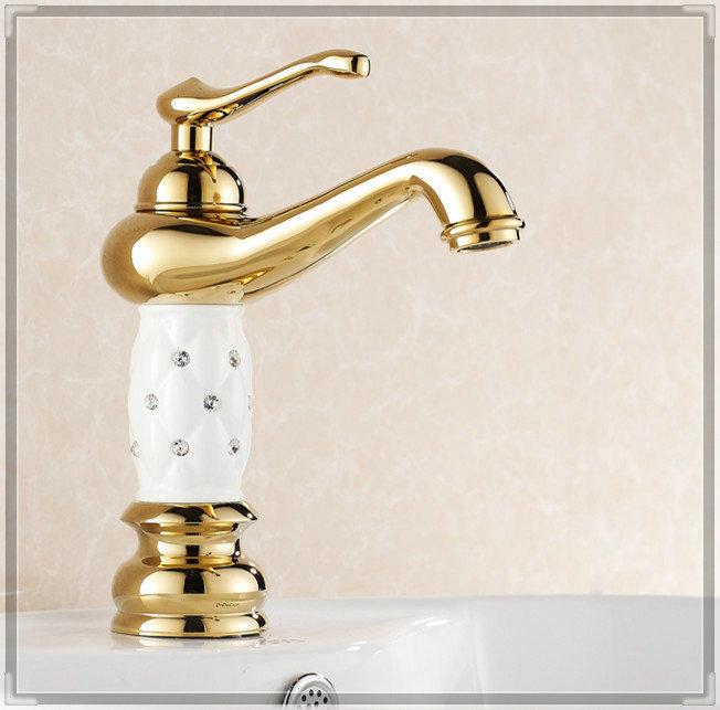Gold Diamond White & Black Lantern Brass Bathroom Vanity Sink / Basin Crane / Torneira Batedeira Faucet Mixer Tap (HJ-815K) doub(China (Mainland))
