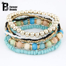 2015 Spring Korean Designer Fashion Bohemia Beads Bracelet Beaded Multilayer Strand Stretch Bracelets Bangles For women Girl(China (Mainland))
