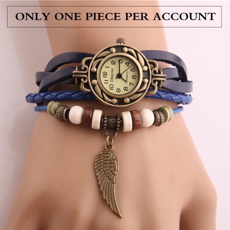 2015 Wristwatch Quartz Pendant Wing Shaped Watch Wrap Pendant Synthetic Leather Bracelet Wrist Watches