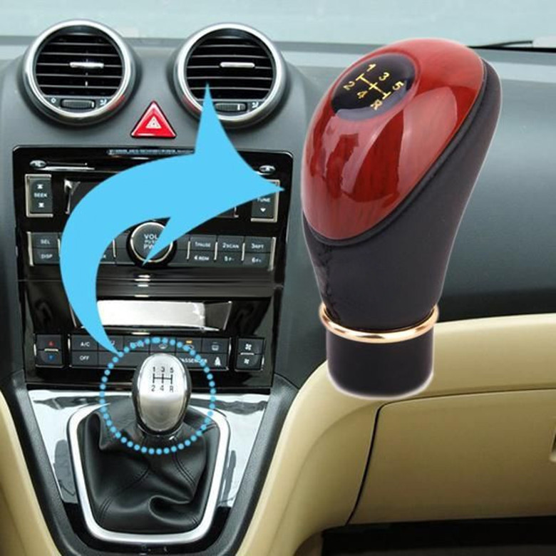 Peach Wood &PU Leather Auto Car Manual 5-Speed Motor Gear Shift Lever Gear Knob High Quality Auto Accessories(China (Mainland))