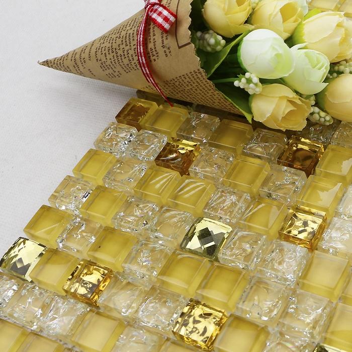 golden color crystal glass mosaic tile, bathroom floor tile, kitchen backsplash, swimming pool tiles, fireplace(China (Mainland))