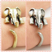 2015 Hot Sale Summer Style Elephant Animal Wrap Rings for Women and Girls Unique Rings Fine Jewelry(China (Mainland))