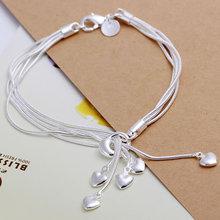 Bracelet 925 Silver Bracelet 925 Silver Fashion Jewelry Bracelet Heart Jewelry Wholesale Free Shipping oias LH067(China (Mainland))
