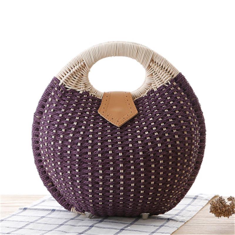 2016 new arrive new fashion handbag rural straw beach bag cane makes up bag shell bag woven hobo bag LC013(China (Mainland))