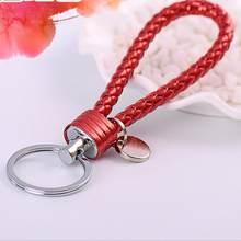 Llaveros de Metal para amantes Brithday regalo llavero Trinke alta calidad t colorido nuevo cable de cuero trenzado Multicolor llavero(China)
