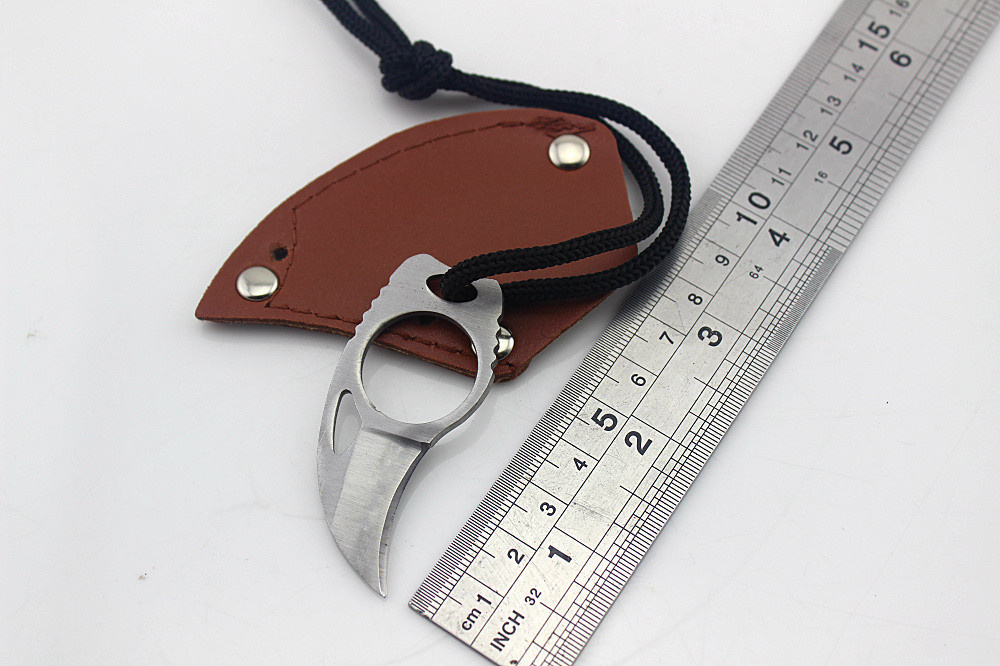 Handmade Combat Tactical Claw hobby survival Karambit Ring 3 Knife Card knife credit card knife Leather