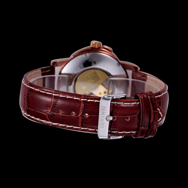 Золотой скелет мужчины механические часы OUYAWEI марка античная автоматическая ветер военная наручные часы спорт кожаный ремешок любителей смотреть