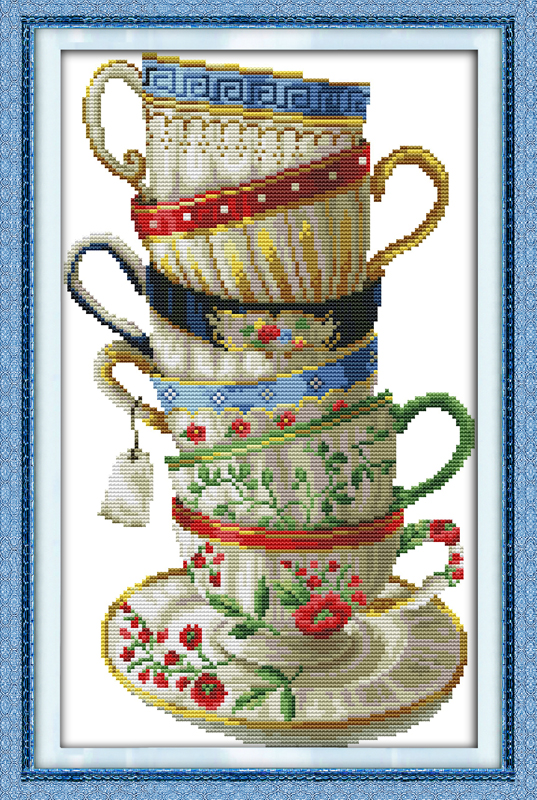 Elegant coffee cup Needlework Counted Cross Stitch embroidery hand made cross-stitch set DIY innovation items home decoration(China (Mainland))