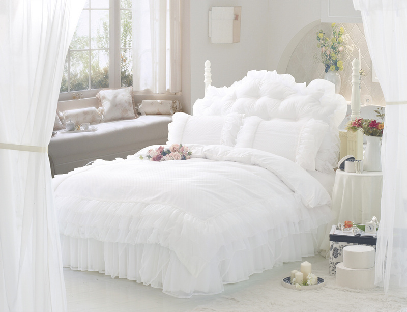 White Ruffle Lace Princess Bedding Comforter Set Full Queen Size Duvet Cover