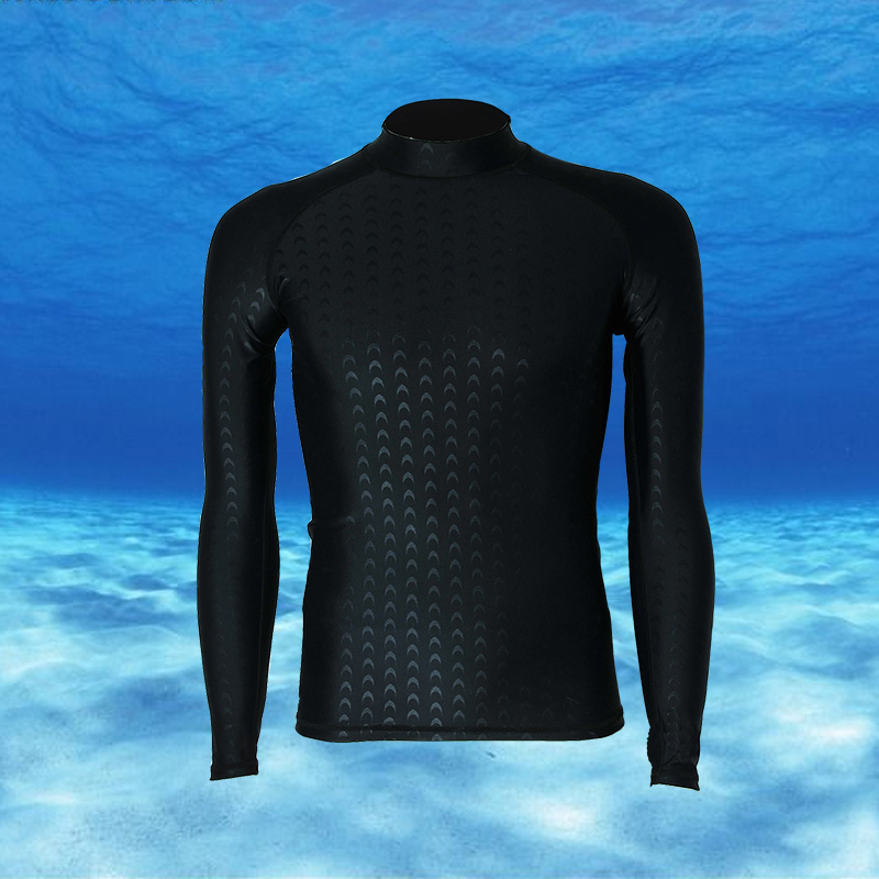 2017 Men Rash Guards Beach Shirt Long Sleeve Swim Shirt High Neck Waterproof Surfing Wear Male Professional Quick Dry Swimwear(China (Mainland))