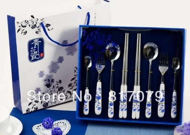 Free shipping Stainless steel blue and white porcelain chopsticks chinese style 8 piece set tableware unique bussiness gift DZ15