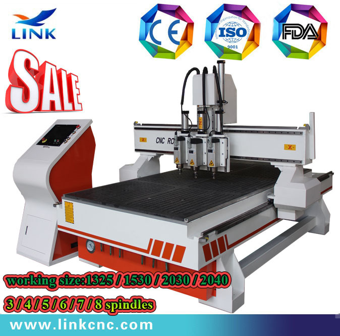 Air cooling spindle Vacuum table multi spindle cnc router(China (Mainland))