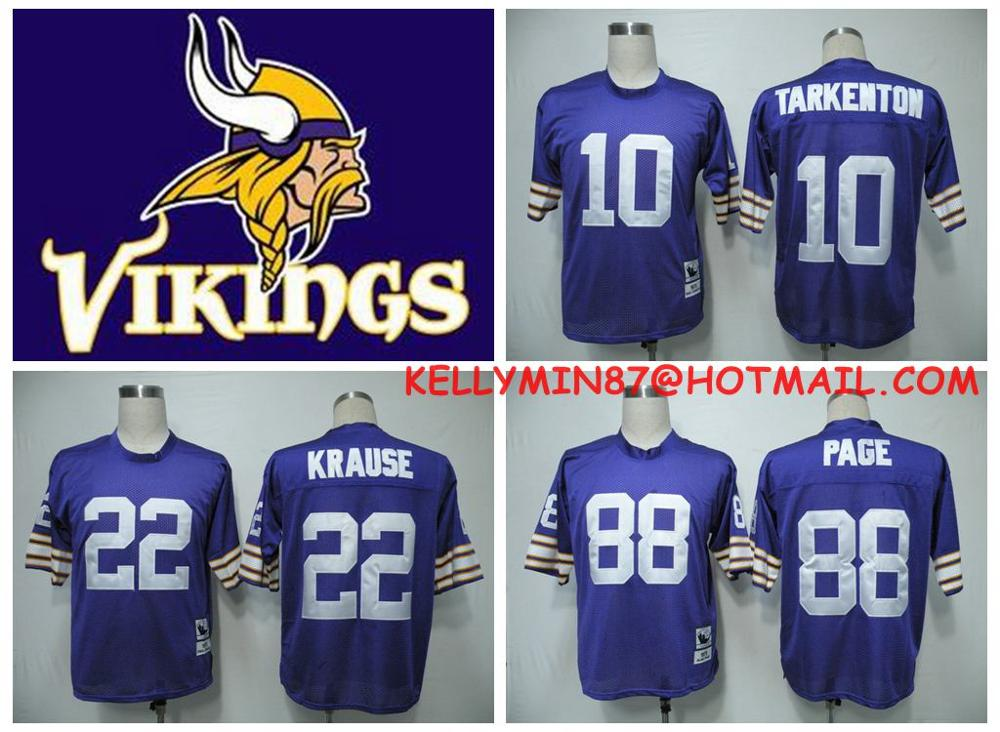 100% Stitiched,Minnesota Vikings,Paul Krause,Fran Tarkenton,Alan Page,Throwback(China (Mainland))