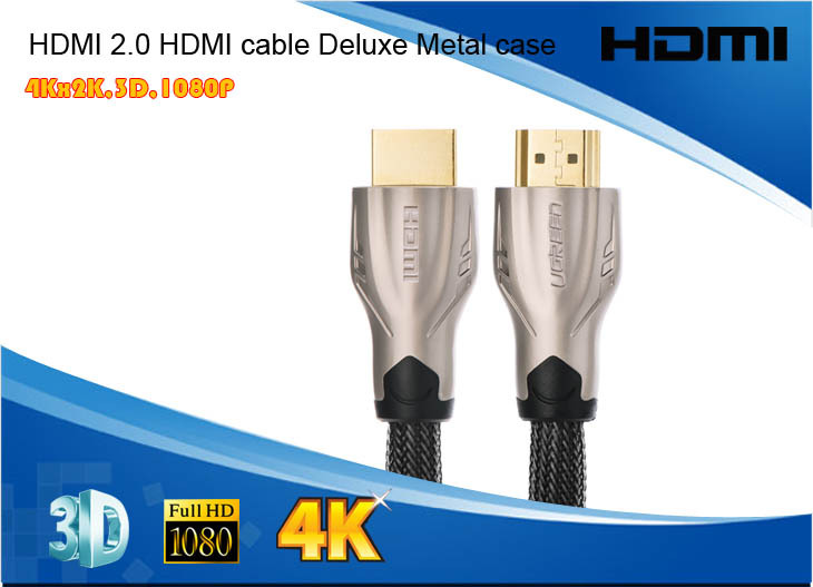 Free shipping HDMI 2.0 4Kx2K 3D High speed HDMI Cable Deluxe Metal case nylon jacket for DVD STB PS3 Full HD 1080P(China (Mainland))