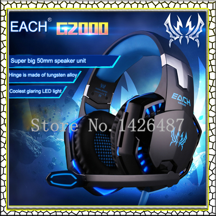Gaming Headphones EACH G2000 Over-ear 3.5mm Headset Earphone Headband with Mic Stereo Bass LED Light auriculares for PC Game(China (Mainland))