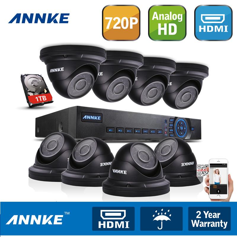 Hotting ANNKE 8CH HDMI AHD Video DVR 720P Outdoor Security Camera System High Definition With 1TB HDD(China (Mainland))