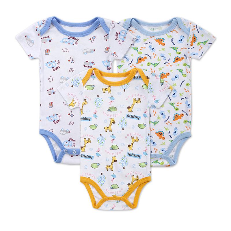 2016 Newly 3 PCS/LOT Baby Boy Girl Clothes Newborn Baby Bodysuit Short Sleeved 180G Cotton Infant Baby Clothing Set 0-12 M(China (Mainland))