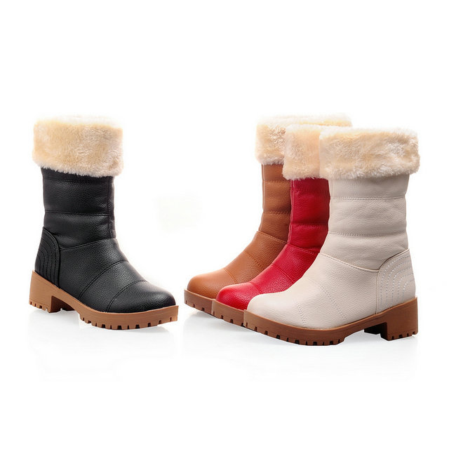 New Square Heel Calf Boots Women Snow Boots Plush Winter Boots Size