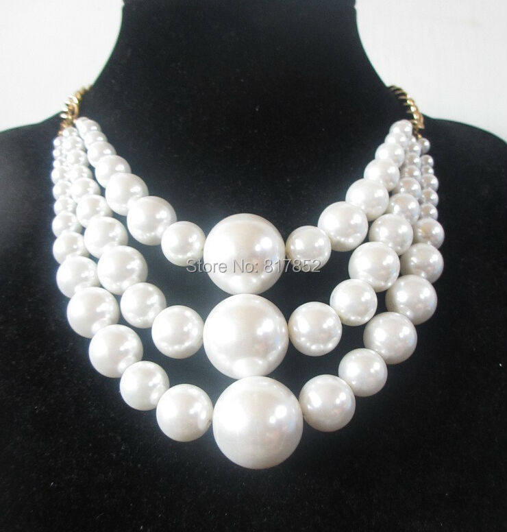 FREE SHIPPING New Style BY487 Gold Plated Chains White Imitation Pearls 3 Layers Beads Necklace Jewelry(China (Mainland))
