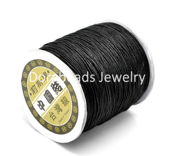 Free Shipping! Black Chinese Knot Beading Nylon Cord 1mm,360M/Roll, sold per lot of 1 roll(360M) (B17068)(China (Mainland))
