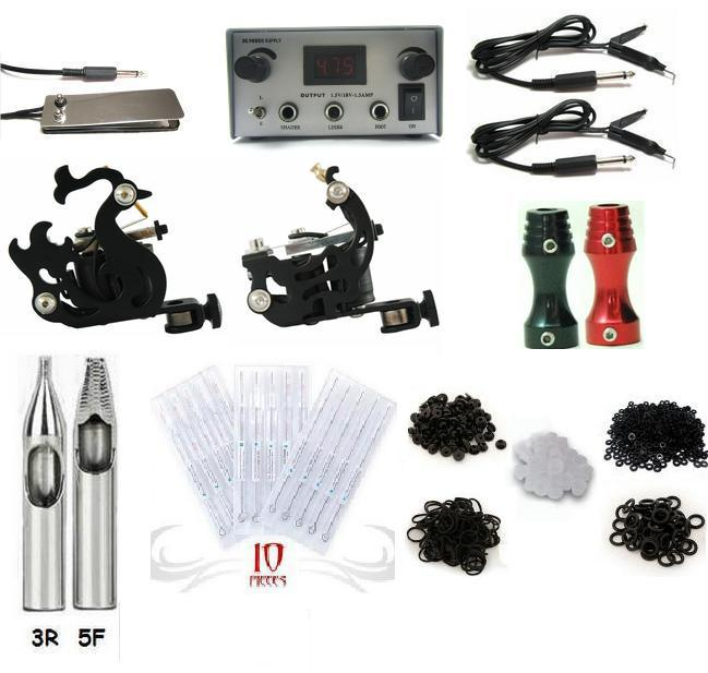 Complete 2 machine tattoo kit machines guns equipment ink for Tattoo gun prices