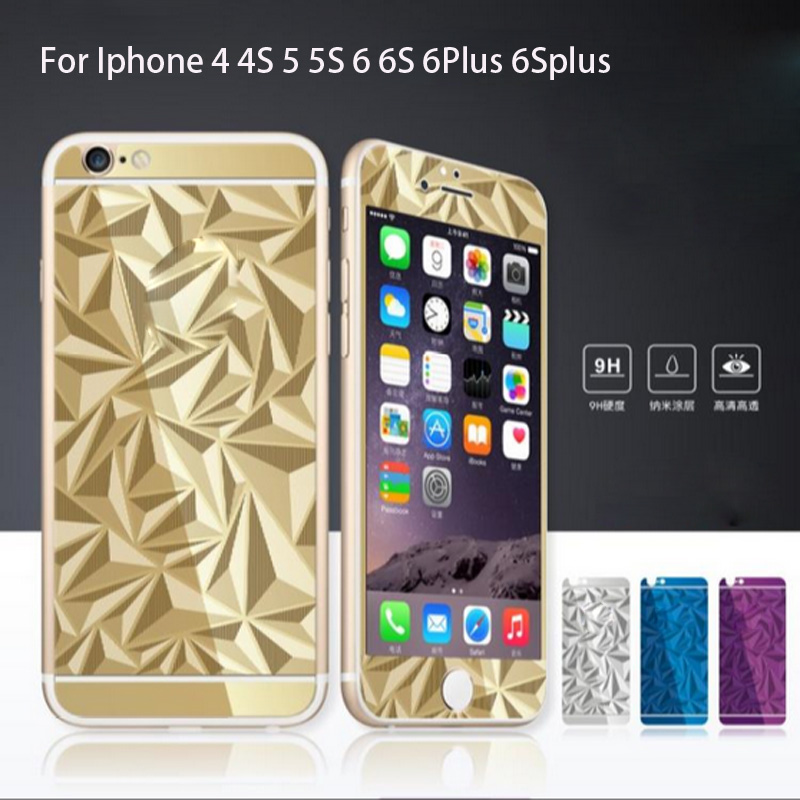 3D Diamond Mirror Color Tempered Glass Front+Back Screen Protector Protective Film for Iphone 4 4S 5 5S 6 6S 6Plus 6Splus Case(China (Mainland))