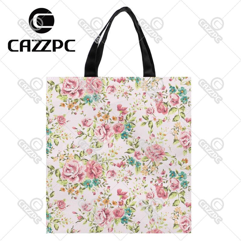 Elegance Watercolor floral Allover Pattern Print Custom individual waterproof Nylon Fabric shopping bag gift bag Pack of 2(China (Mainland))