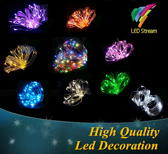 9 color 5M 50leds Fairy String Lights lamp Battery Operated Mini LED Decorative Silver color Copper Wire holiday lighting(China (Mainland))